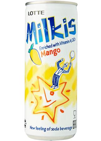 Milkis - mleczny napój gazowany o smaku mango z witaminami 250ml Lotte