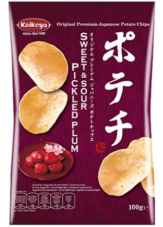 Oryginalne chipsy ziemniaczane Koikeya Śliwka 100g z Japonii