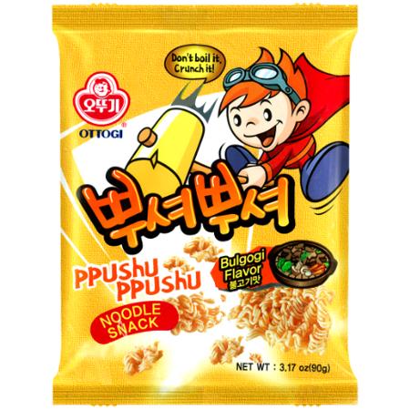 Ppushu Ppushu, makaron-przekąska o smaku koreańskiego BBQ 90g - Ottogi
