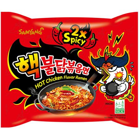 Ramyun o smaku ostrego kurczaka 2xSpicy, bombowo ostry 140g - Samyang